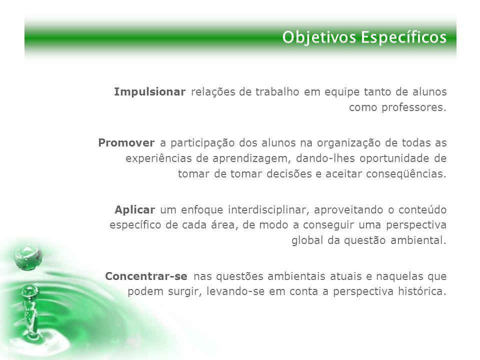 Objetivos Específicos Impulsionar relações de trabalho em equipe tanto de alunos como professores. Promover a participação dos alunos na organização d