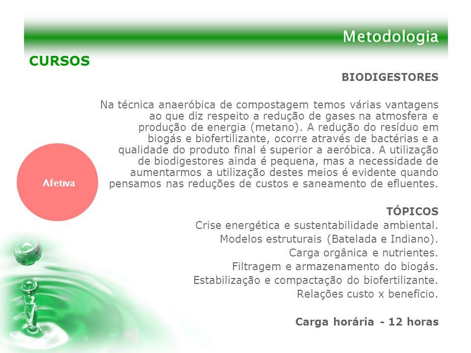 Metodologia BIODIGESTORES Na técnica anaeróbica de compostagem temos várias vantagens ao que diz respeito a redução de gases na atmosfera e produção d