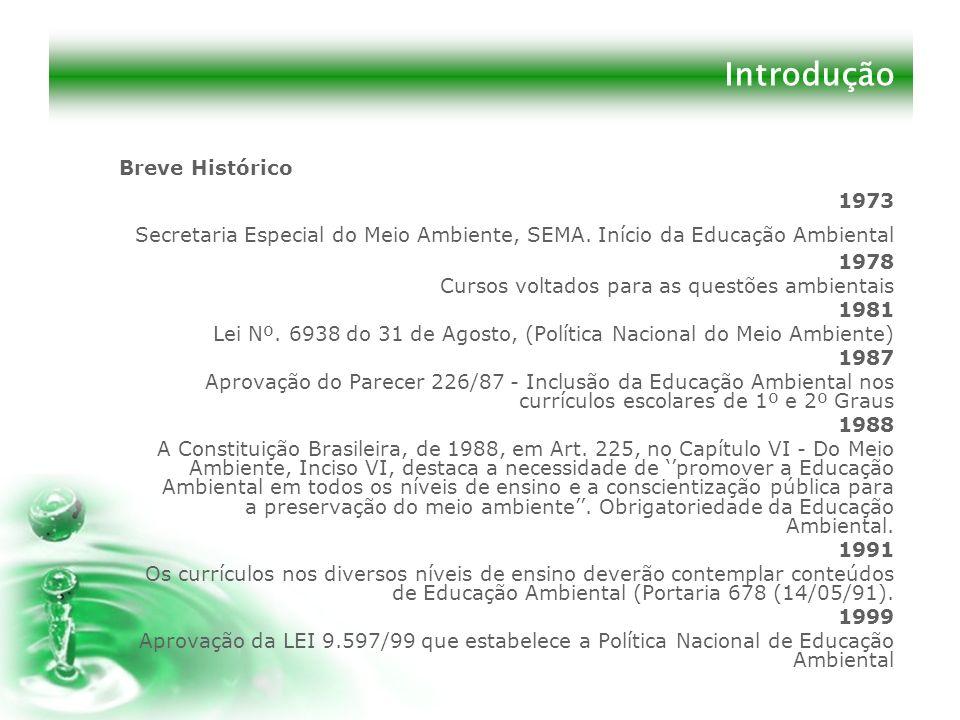 Introdução Breve Histórico 1973 Secretaria Especial do Meio Ambiente, SEMA. Início da Educação Ambiental 1978 Cursos voltados para as questões ambient