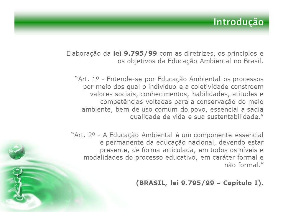 Introdução Elaboração da lei 9.795/99 com as diretrizes, os princípios e os objetivos da Educação Ambiental no Brasil. Art. 1º - Entende-se por Educaç