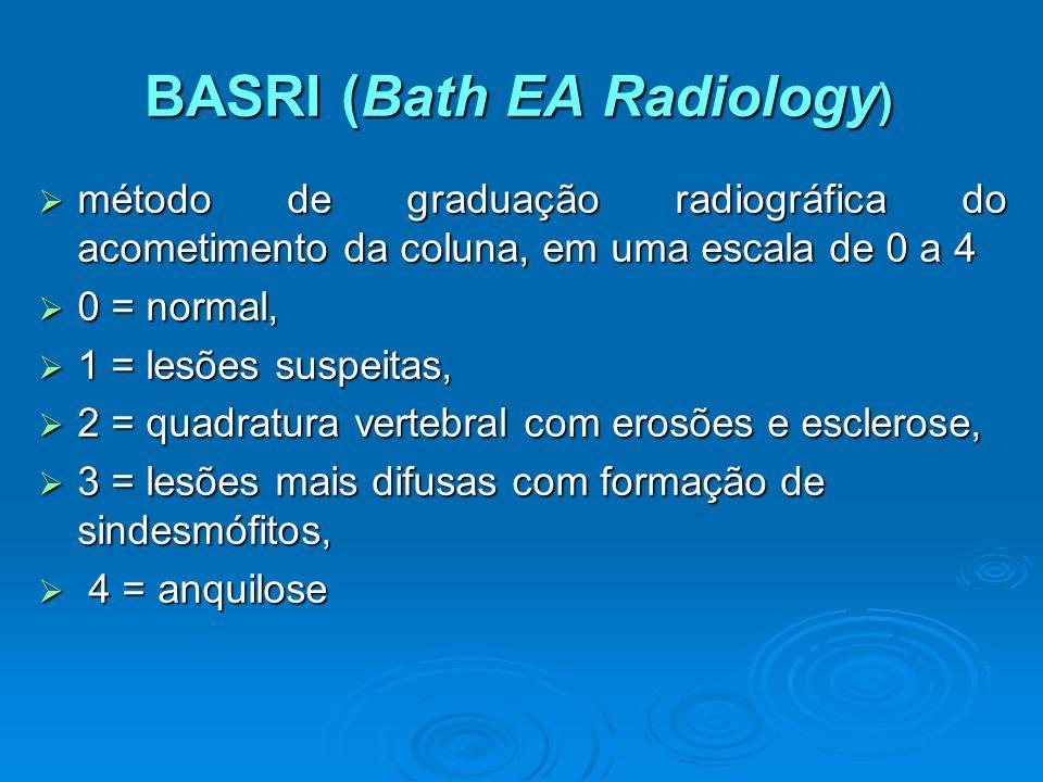 BASRI (Bath EA Radiology ) método de graduação radiográfica do acometimento da coluna, em uma escala de 0 a 4 método de graduação radiográfica do acom