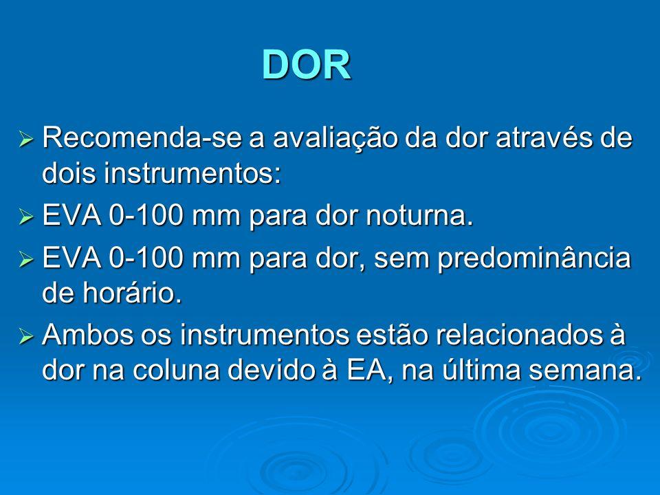 DOR Recomenda-se a avaliação da dor através de dois instrumentos: Recomenda-se a avaliação da dor através de dois instrumentos: EVA 0-100 mm para dor