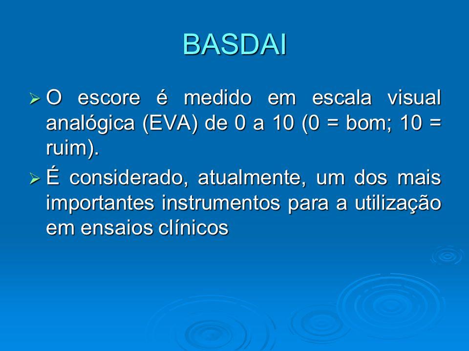 BASDAI O escore é medido em escala visual analógica (EVA) de 0 a 10 (0 = bom; 10 = ruim). O escore é medido em escala visual analógica (EVA) de 0 a 10
