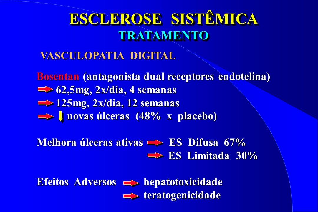ESCLEROSE SISTÊMICA TRATAMENTO TRATAMENTO Bosentan (antagonista dual receptores endotelina) 62,5mg, 2x/dia, 4 semanas 62,5mg, 2x/dia, 4 semanas 125mg,