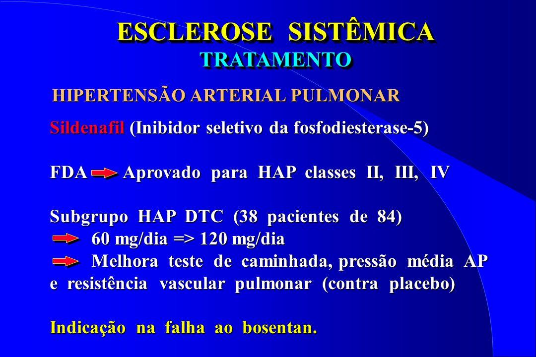 ESCLEROSE SISTÊMICA TRATAMENTO TRATAMENTO Sildenafil (Inibidor seletivo da fosfodiesterase-5) FDA Aprovado para HAP classes II, III, IV Subgrupo HAP D