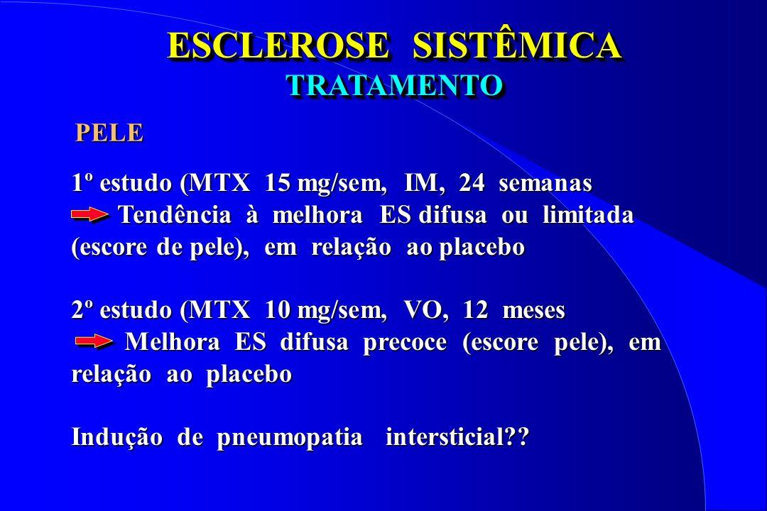 ESCLEROSE SISTÊMICA TRATAMENTO TRATAMENTO 1º estudo (MTX 15 mg/sem, IM, 24 semanas Tendência à melhora ES difusa ou limitada (escore de pele), em rela