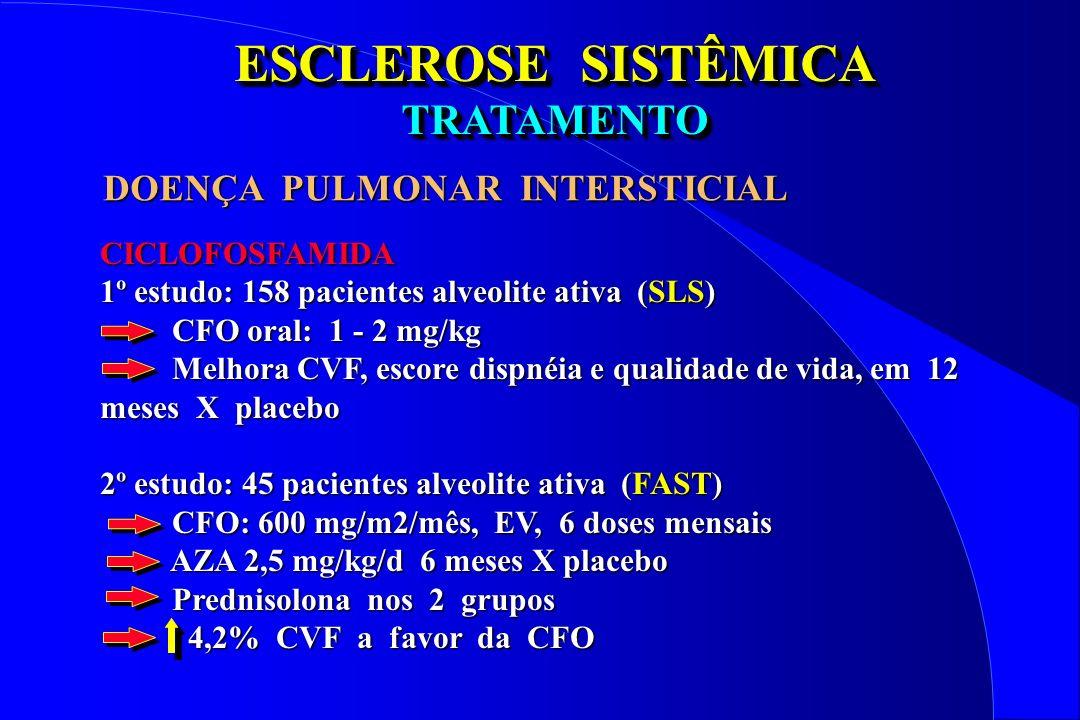 ESCLEROSE SISTÊMICA TRATAMENTO TRATAMENTO CICLOFOSFAMIDA 1º estudo: 158 pacientes alveolite ativa (SLS) CFO oral: 1 - 2 mg/kg CFO oral: 1 - 2 mg/kg Me