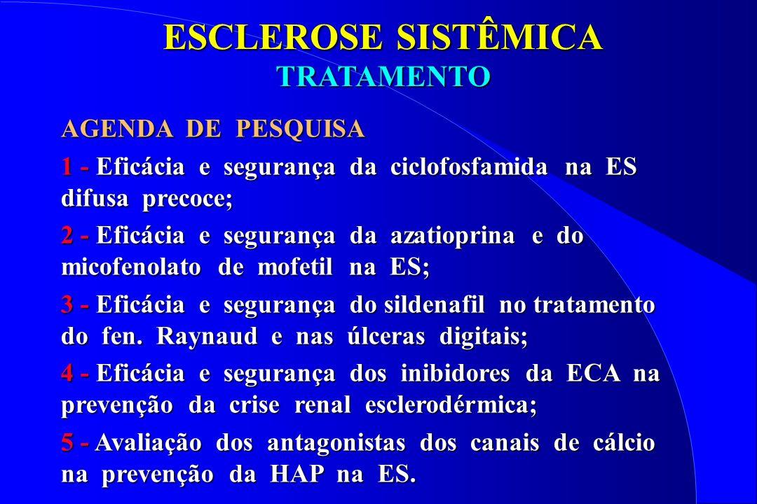 ESCLEROSE SISTÊMICA TRATAMENTO AGENDA DE PESQUISA 1 - Eficácia e segurança da ciclofosfamida na ES difusa precoce; 2 - Eficácia e segurança da azatiop