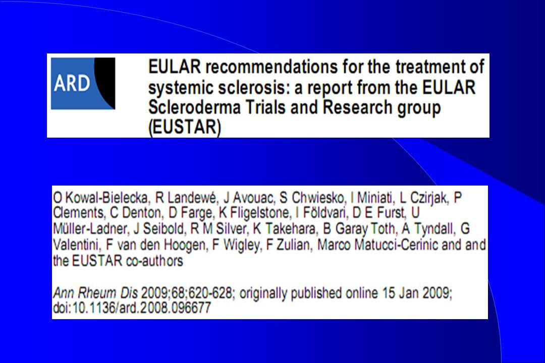 ESCLEROSE SISTÊMICA TRATAMENTO TRATAMENTO CAPTOPRIL Análise prospectiva 108 pacientes Melhora na sobrevida iECA1 ano: 76% e 5 anos: 66% placebo1 ano: 15%e 5 anos: 10% necessidade de diálise permanente necessidade de diálise permanente CRISE RENAL