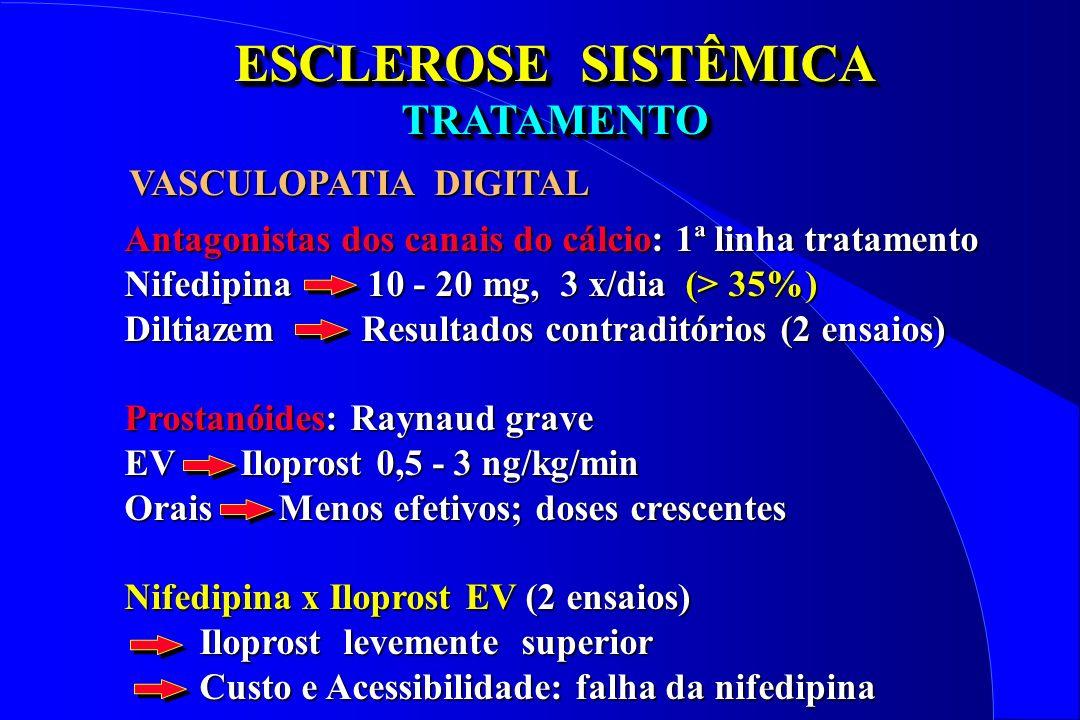 ESCLEROSE SISTÊMICA TRATAMENTO I - VASCULOPATIA DIGITAL 2 - Prostanóides endovenosos (Iloprost) devem ser considerados no tratamento das úlceras digitais ativas da esclerose sistêmica.