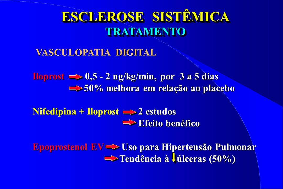 ESCLEROSE SISTÊMICA TRATAMENTO TRATAMENTO Iloprost 0,5 - 2 ng/kg/min, por 3 a 5 dias 50% melhora em relação ao placebo 50% melhora em relação ao place