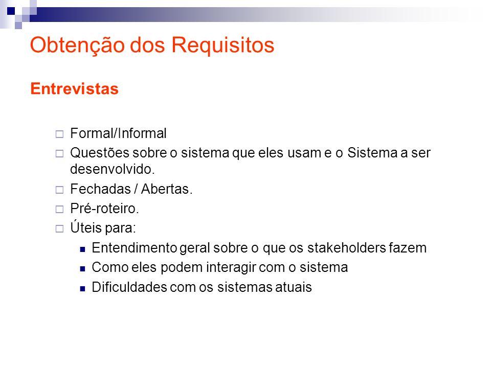 Obtenção dos Requisitos Entrevistas Formal/Informal Questões sobre o sistema que eles usam e o Sistema a ser desenvolvido. Fechadas / Abertas. Pré-rot