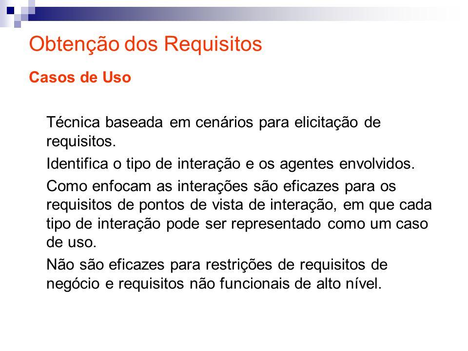 Obtenção dos Requisitos Casos de Uso Técnica baseada em cenários para elicitação de requisitos. Identifica o tipo de interação e os agentes envolvidos
