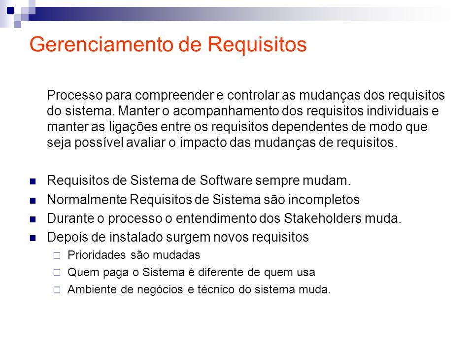 Gerenciamento de Requisitos Processo para compreender e controlar as mudanças dos requisitos do sistema. Manter o acompanhamento dos requisitos indivi
