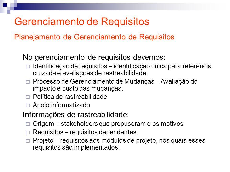 Gerenciamento de Requisitos Planejamento de Gerenciamento de Requisitos No gerenciamento de requisitos devemos: Identificação de requisitos – identifi