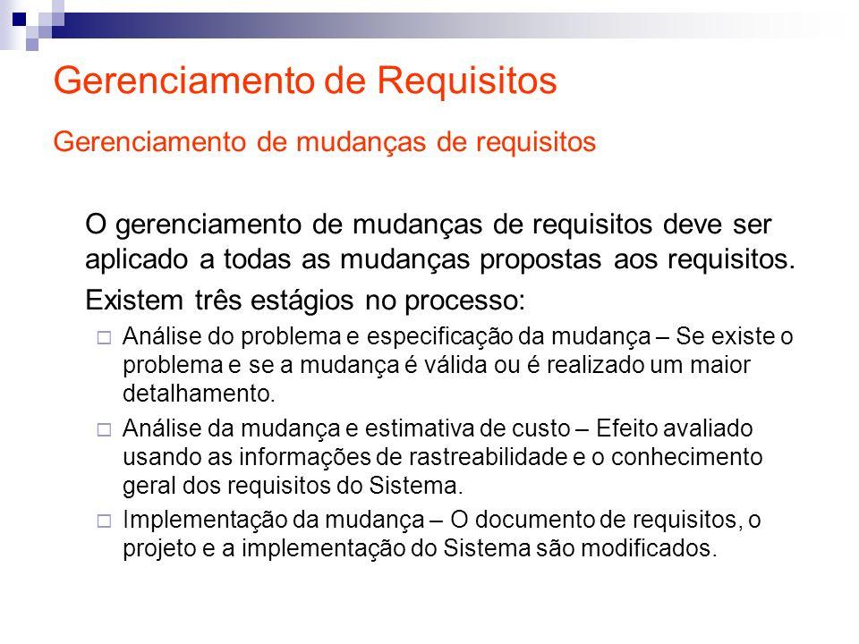 Gerenciamento de Requisitos Gerenciamento de mudanças de requisitos O gerenciamento de mudanças de requisitos deve ser aplicado a todas as mudanças pr
