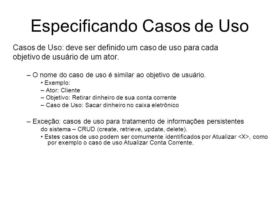 Especificando Casos de Uso Casos de Uso: deve ser definido um caso de uso para cada objetivo de usuário de um ator. – O nome do caso de uso é similar