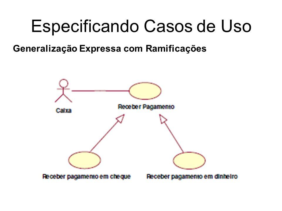 Especificando Casos de Uso Generalização Expressa com Ramificações