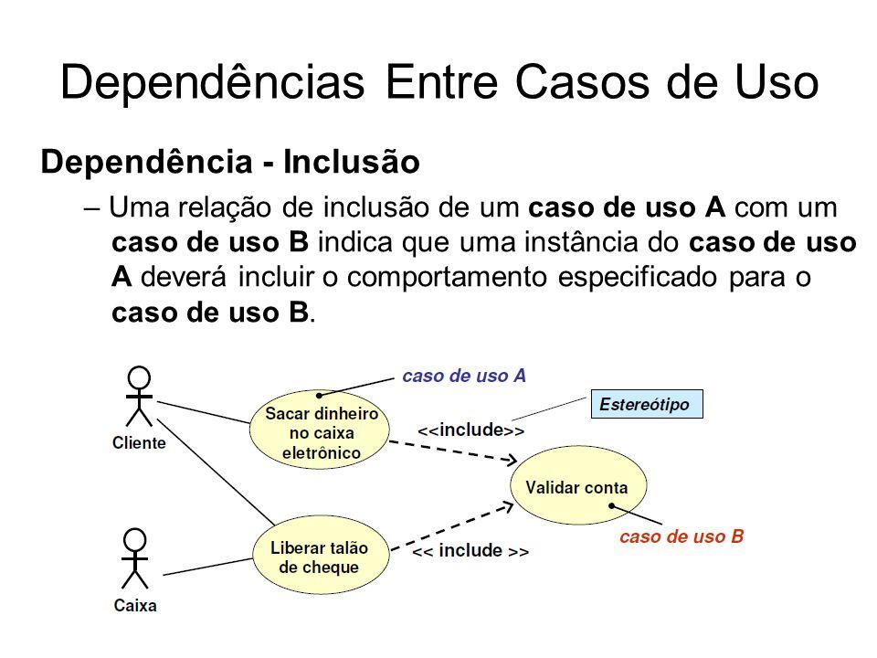 Dependências Entre Casos de Uso Dependência - Inclusão – Uma relação de inclusão de um caso de uso A com um caso de uso B indica que uma instância do