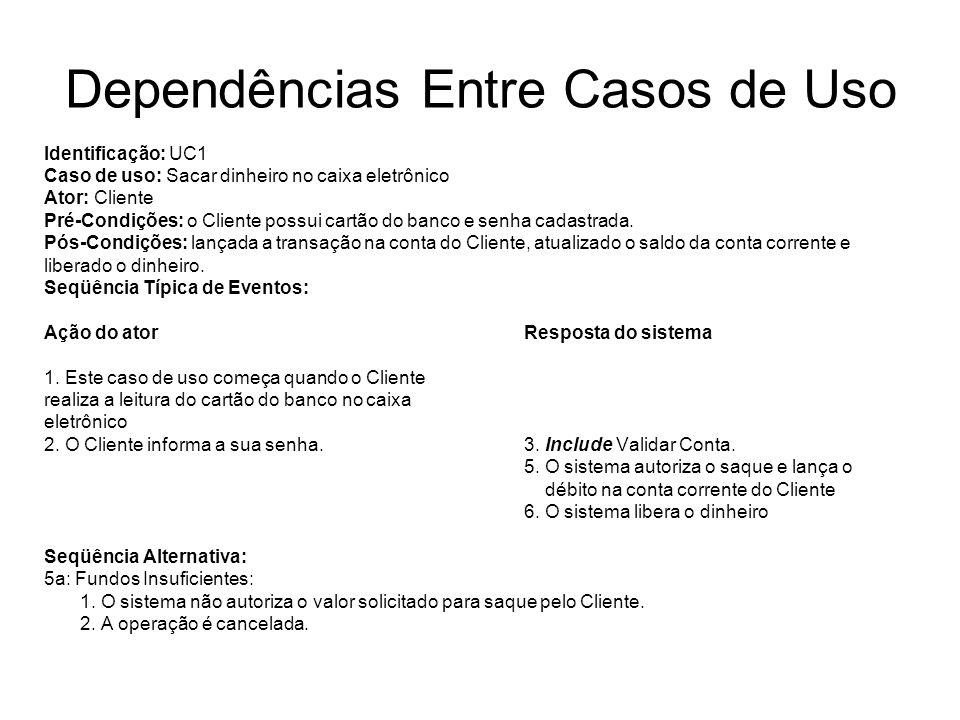 Dependências Entre Casos de Uso Identificação: UC1 Caso de uso: Sacar dinheiro no caixa eletrônico Ator: Cliente Pré-Condições: o Cliente possui cartã