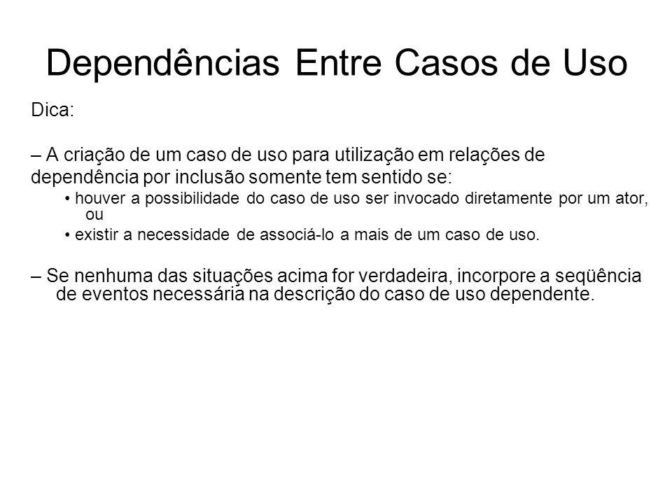 Dependências Entre Casos de Uso Dica: – A criação de um caso de uso para utilização em relações de dependência por inclusão somente tem sentido se: ho