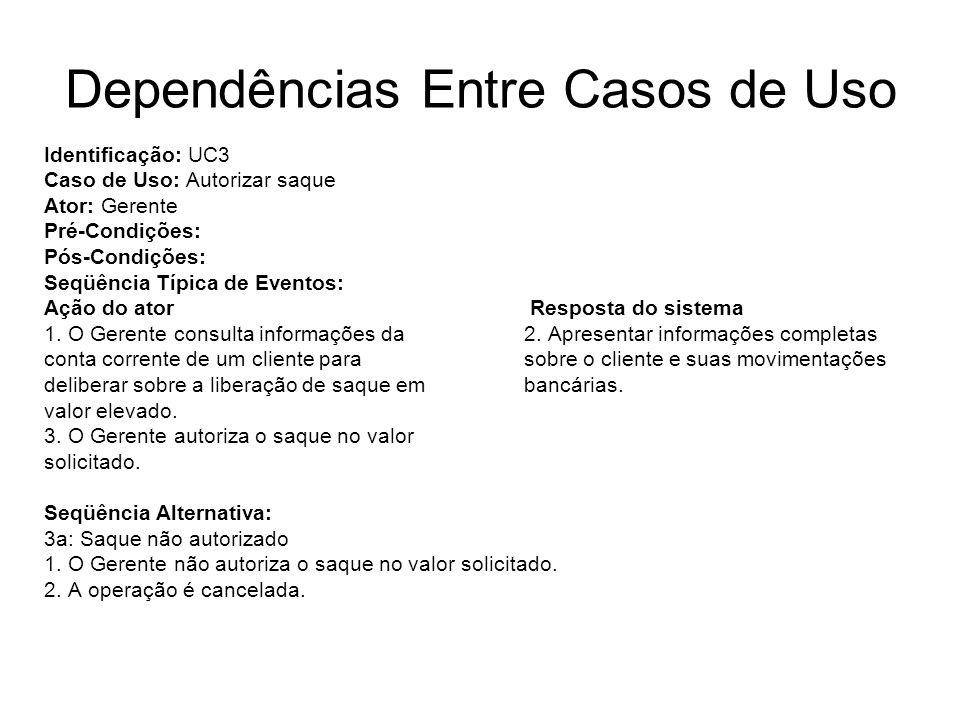 Dependências Entre Casos de Uso Identificação: UC3 Caso de Uso: Autorizar saque Ator: Gerente Pré-Condições: Pós-Condições: Seqüência Típica de Evento