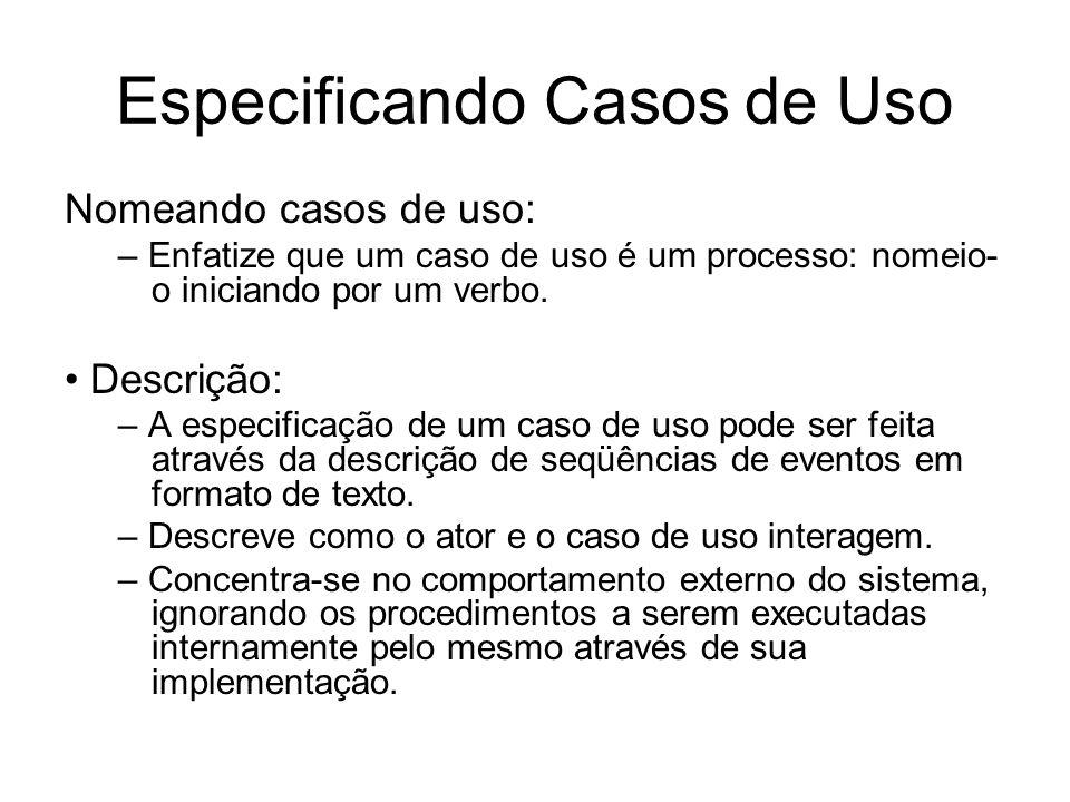 Especificando Casos de Uso Nomeando casos de uso: – Enfatize que um caso de uso é um processo: nomeio- o iniciando por um verbo. Descrição: – A especi