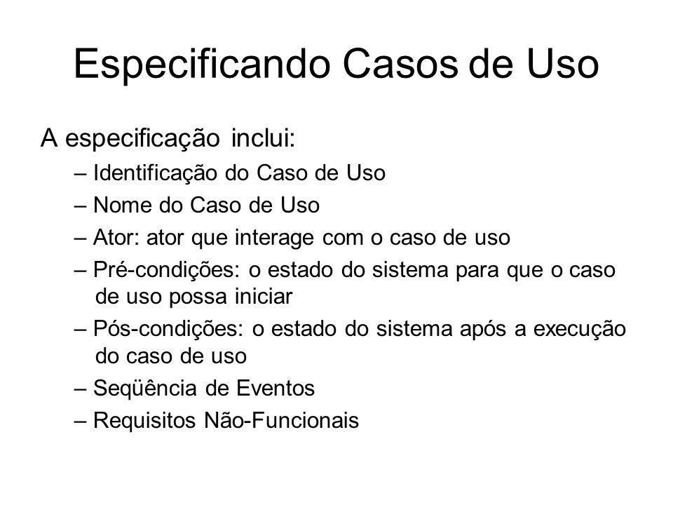 Especificando Casos de Uso A especificação inclui: – Identificação do Caso de Uso – Nome do Caso de Uso – Ator: ator que interage com o caso de uso –