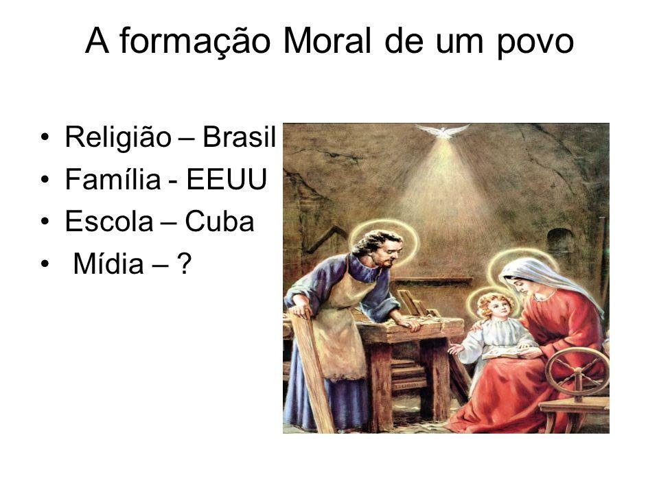 A formação Moral de um povo Religião – Brasil Família - EEUU Escola – Cuba Mídia – ?
