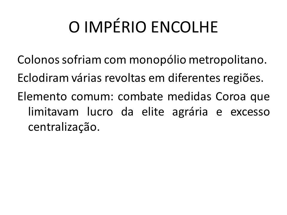 O IMPÉRIO ENCOLHE Colonos sofriam com monopólio metropolitano.