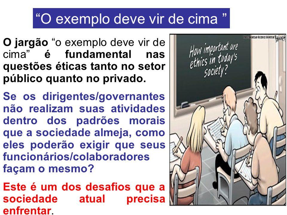 O jargão o exemplo deve vir de cima é fundamental nas questões éticas tanto no setor público quanto no privado. Se os dirigentes/governantes não reali