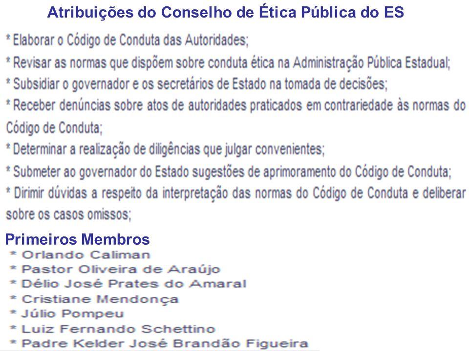 Primeiros Membros Atribuições do Conselho de Ética Pública do ES