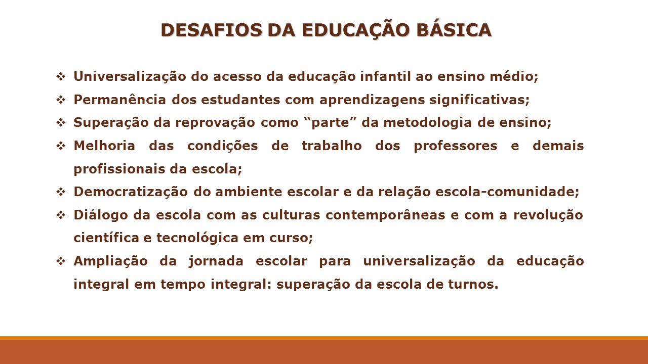 DESAFIOS DA EDUCAÇÃO BÁSICA Universalização do acesso da educação infantil ao ensino médio; Permanência dos estudantes com aprendizagens significativa
