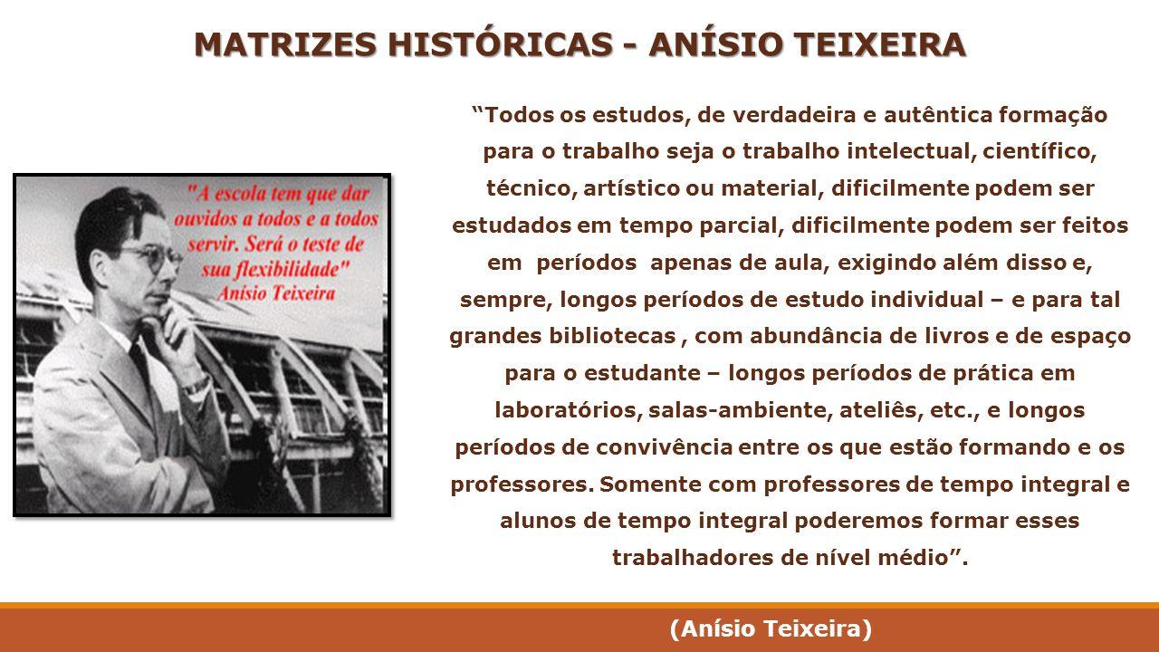 MATRIZES HISTÓRICAS - ANÍSIO TEIXEIRA Todos os estudos, de verdadeira e autêntica formação para o trabalho seja o trabalho intelectual, científico, té