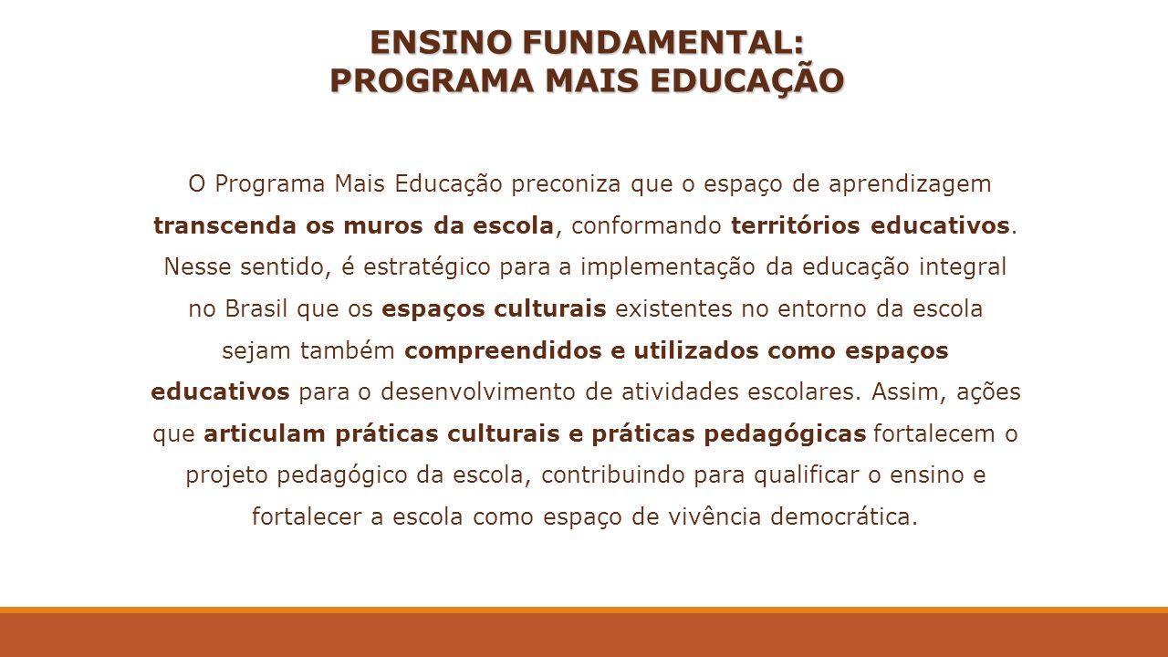 ENSINO FUNDAMENTAL: PROGRAMA MAIS EDUCAÇÃO O Programa Mais Educação preconiza que o espaço de aprendizagem transcenda os muros da escola, conformando