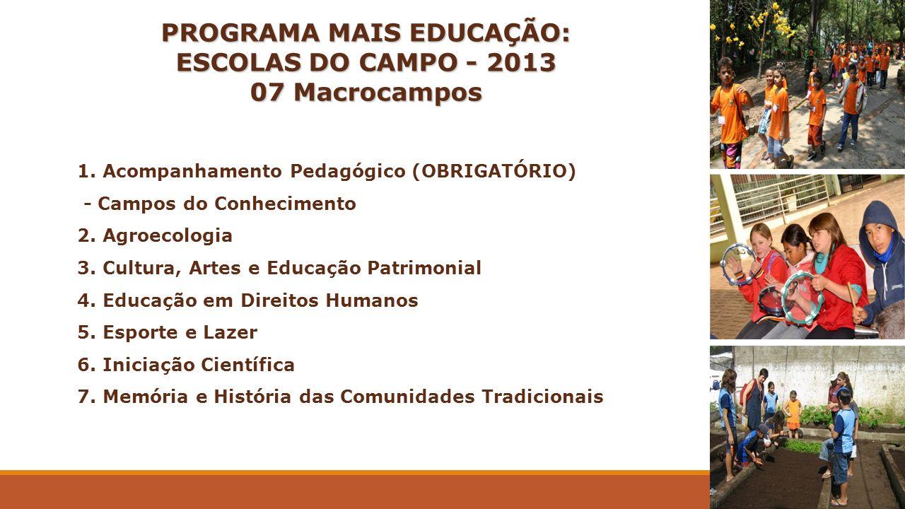 PROGRAMA MAIS EDUCAÇÃO: ESCOLAS DO CAMPO - 2013 07 Macrocampos 1. Acompanhamento Pedagógico (OBRIGATÓRIO) - Campos do Conhecimento 2. Agroecologia 3.