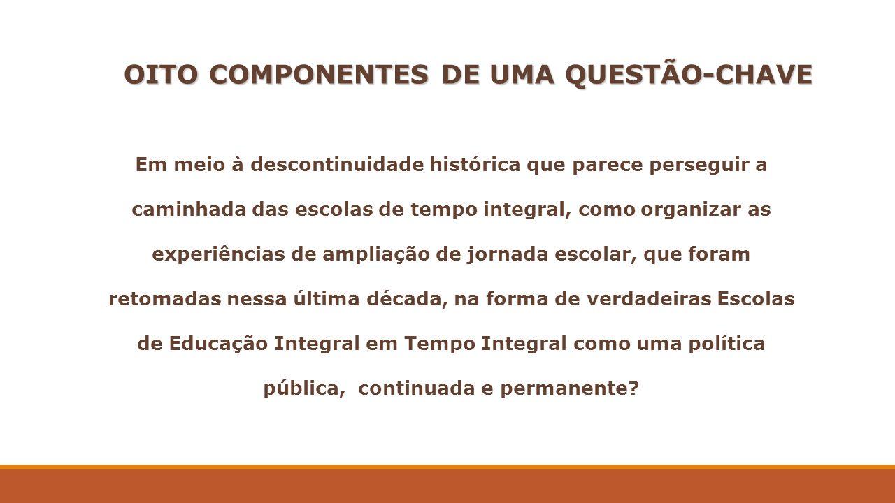 OITO COMPONENTES DE UMA QUESTÃO-CHAVE Em meio à descontinuidade histórica que parece perseguir a caminhada das escolas de tempo integral, como organiz