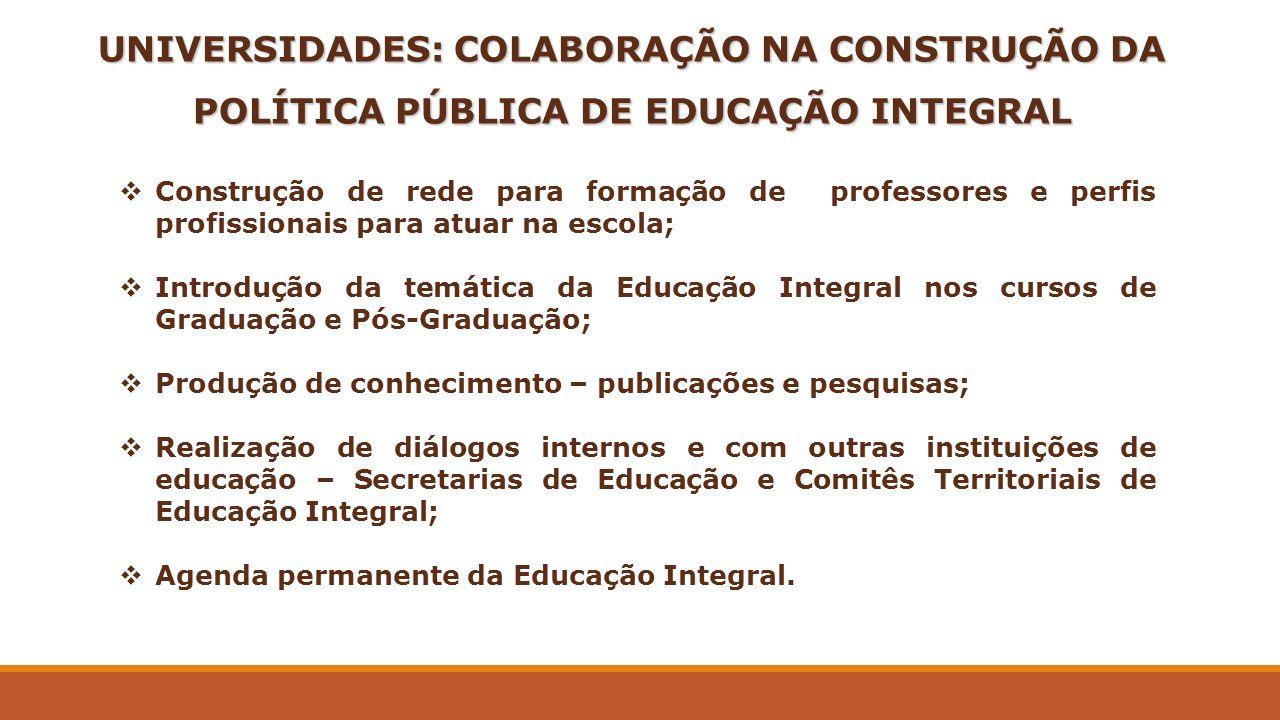 UNIVERSIDADES: COLABORAÇÃO NA CONSTRUÇÃO DA POLÍTICA PÚBLICA DE EDUCAÇÃO INTEGRAL Construção de rede para formação de professores e perfis profissiona