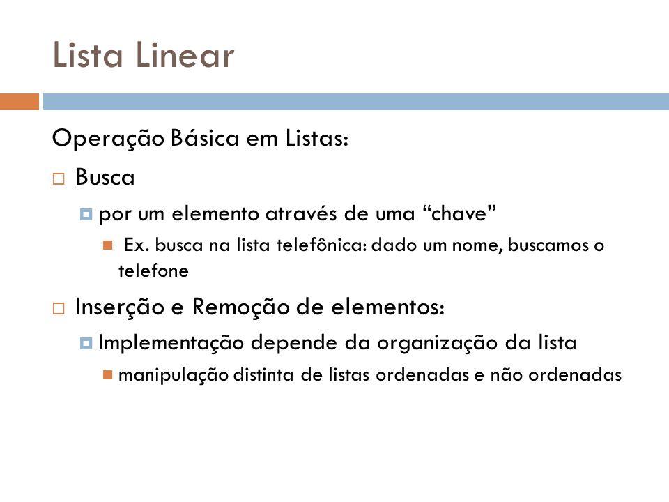 Lista Linear Operação Básica em Listas: Busca por um elemento através de uma chave Ex. busca na lista telefônica: dado um nome, buscamos o telefone In