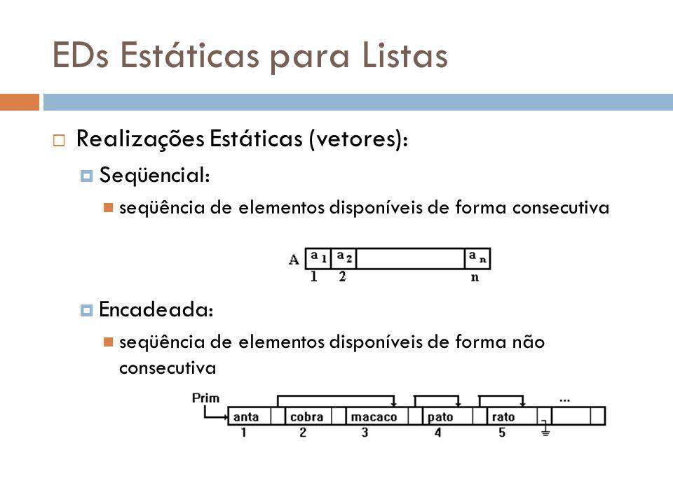 EDs Estáticas para Listas Realizações Estáticas (vetores): Seqüencial: seqüência de elementos disponíveis de forma consecutiva Encadeada: seqüência de