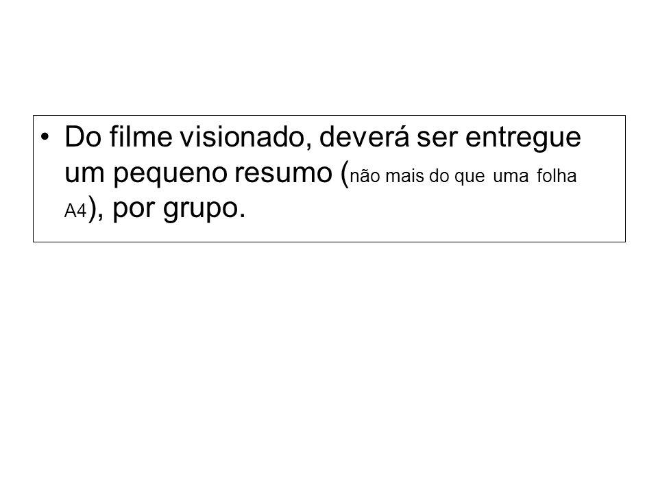 Do filme visionado, deverá ser entregue um pequeno resumo ( não mais do que uma folha A4 ), por grupo.
