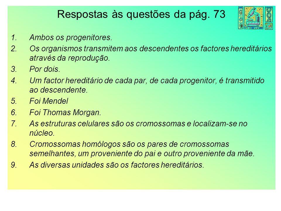 Respostas às questões da pág. 73 1.Ambos os progenitores. 2.Os organismos transmitem aos descendentes os factores hereditários através da reprodução.