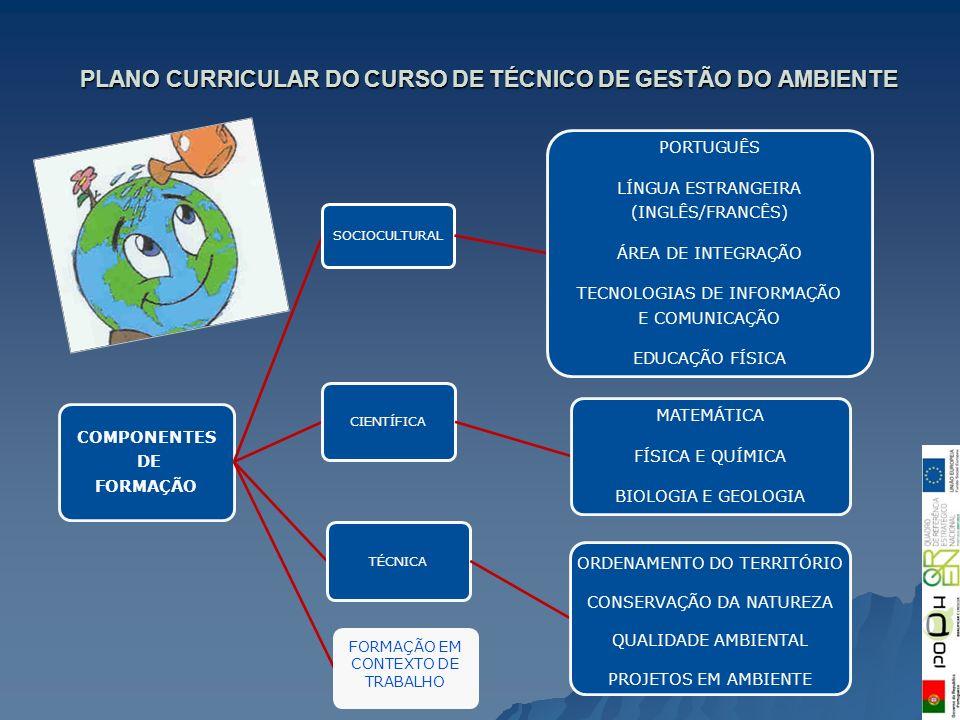 PLANO CURRICULAR DO CURSO DE TÉCNICO DE GESTÃO DO AMBIENTE COMPONENTES DE FORMAÇÃO SOCIOCULTURAL PORTUGUÊS LÍNGUA ESTRANGEIRA (INGLÊS/FRANCÊS) ÁREA DE