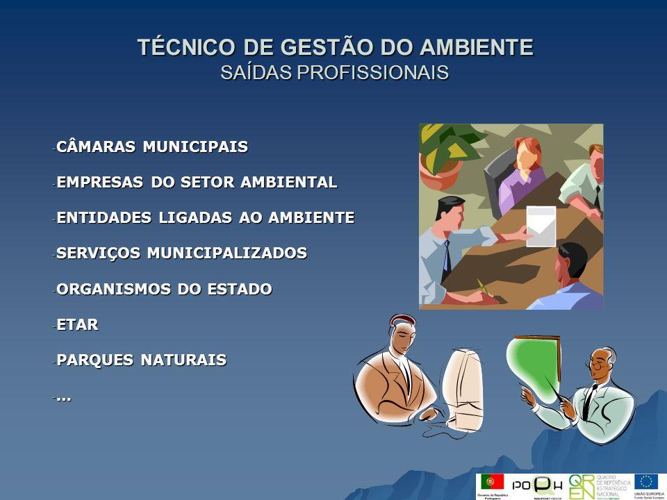 TÉCNICO DE GESTÃO DO AMBIENTE SAÍDAS PROFISSIONAIS - CÂMARAS MUNICIPAIS - EMPRESAS DO SETOR AMBIENTAL - ENTIDADES LIGADAS AO AMBIENTE - SERVIÇOS MUNIC