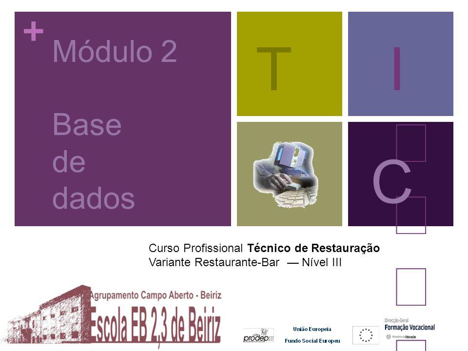 + Curso Profissional Técnico de Restauração Variante Restaurante-Bar Nível III Módulo 2 Base de dados TI C