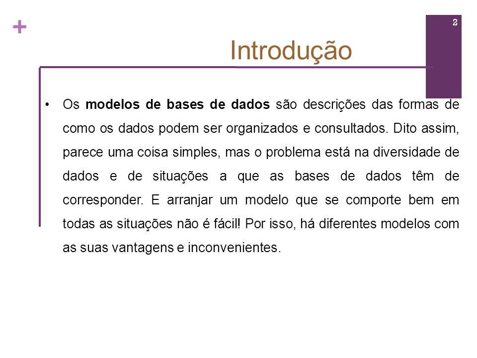 + Introdução Os modelos de bases de dados são descrições das formas de como os dados podem ser organizados e consultados. Dito assim, parece uma coisa