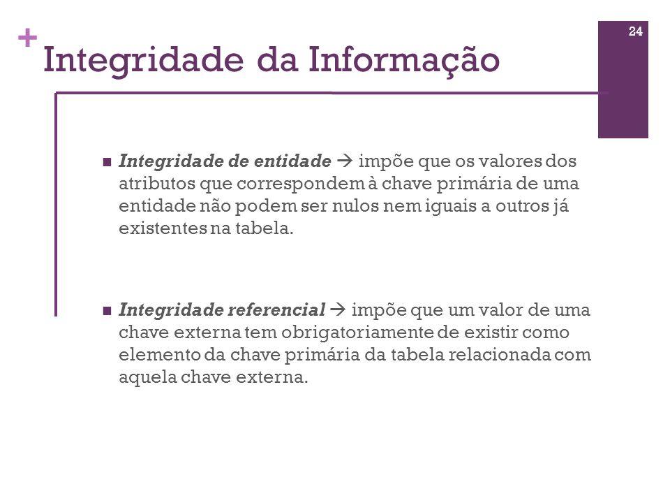 + Integridade da Informação Integridade de entidade impõe que os valores dos atributos que correspondem à chave primária de uma entidade não podem ser