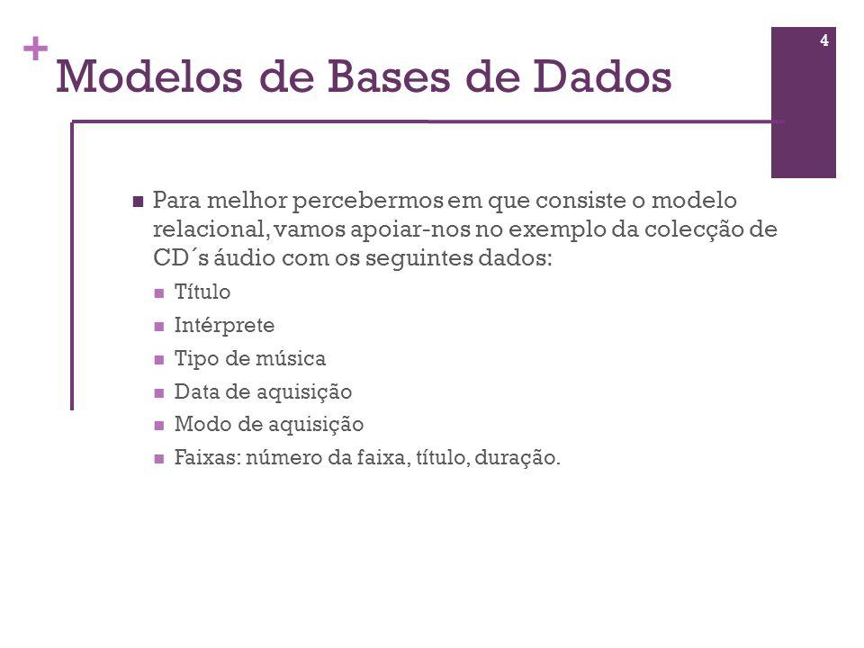 + Base de Dados Relacional Tabelas São várias as operações que se podem executar sobre uma base de dados, sendo a mais frequente a consulta.