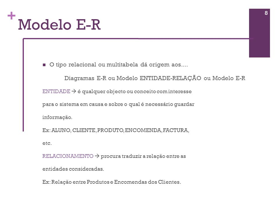 + Modelo E-R ATRIBUTO consiste nas características de uma entidade EX: 9 Entidade ALUNO Atributo Numero Nome Turma Idade
