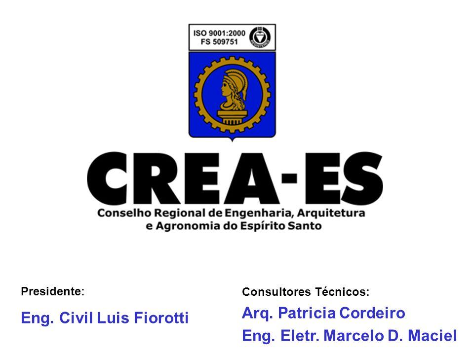 Presidente: Eng. Civil Luis Fiorotti Consultores Técnicos: Arq. Patricia Cordeiro Eng. Eletr. Marcelo D. Maciel